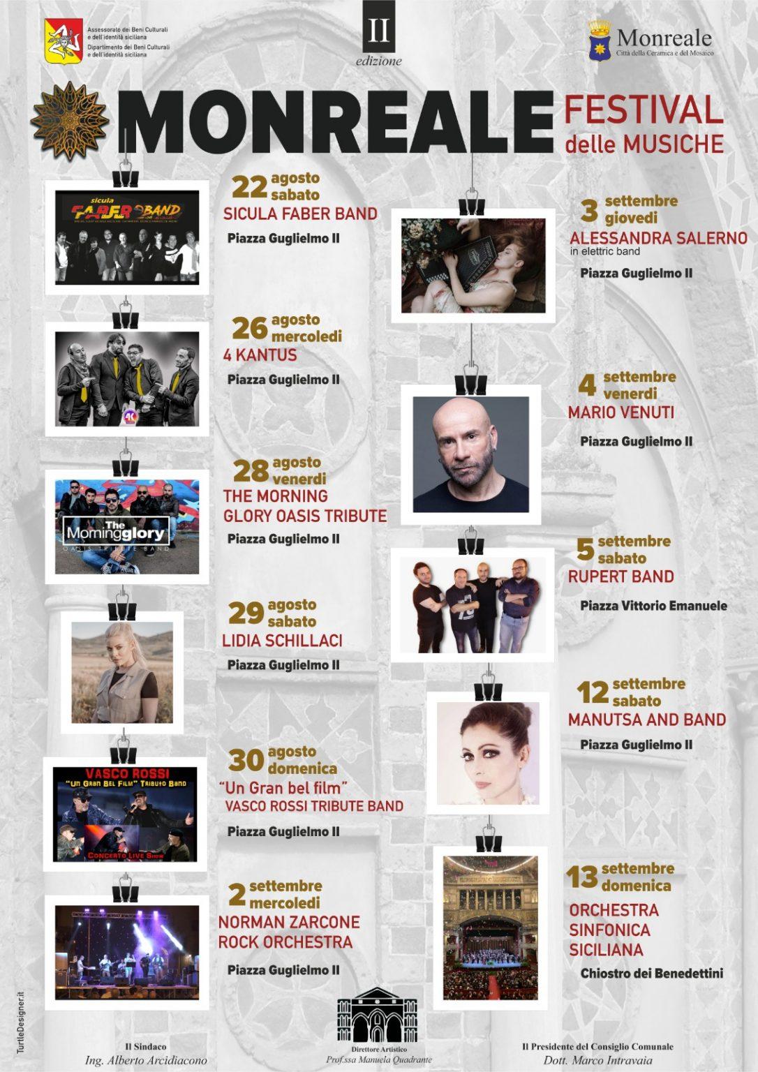 """Monreale, Mario Venuti in concerto e il tributo a Vasco Rossi: al via dal 22 agosto il """"Festival delle Musiche"""" (IL PROGRAMM"""