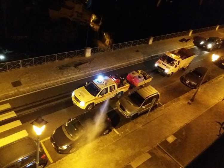 Stasera verrà effettuata la sanificazione e la pulizia delle strade